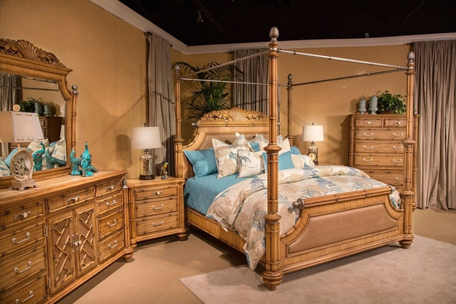 Superieur Excursions Exotic 4 Pc Bamboo Queen Canopy Bedroom Set W/Brushed Pewter  Accents