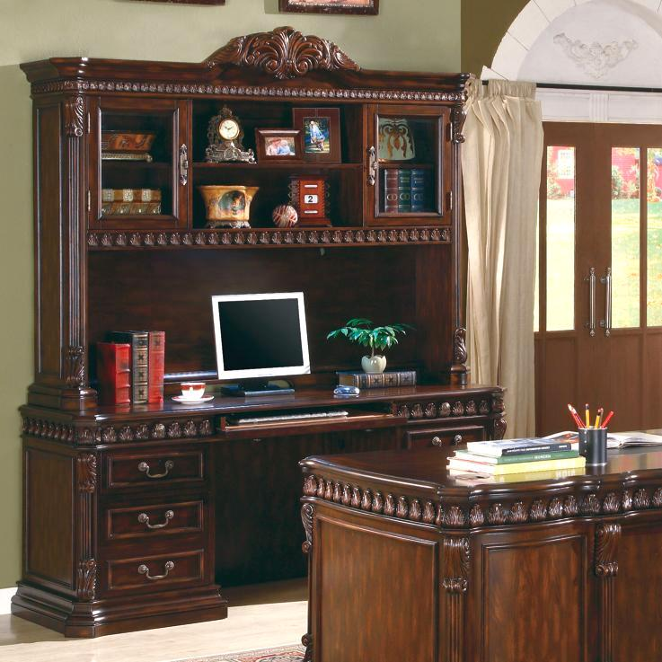 Furniture For A Best Home Office: Executive Dark Brown Home Office Credenza Hutch Desk 800801