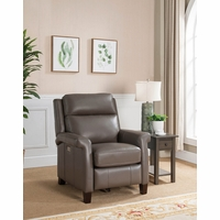 Exeter Genuine Leather Power Leather Recliner with Power Headrest In Taupe