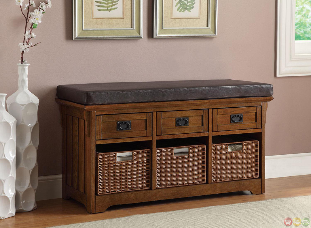 Exposed wooden frame oak bench with baskets drawers
