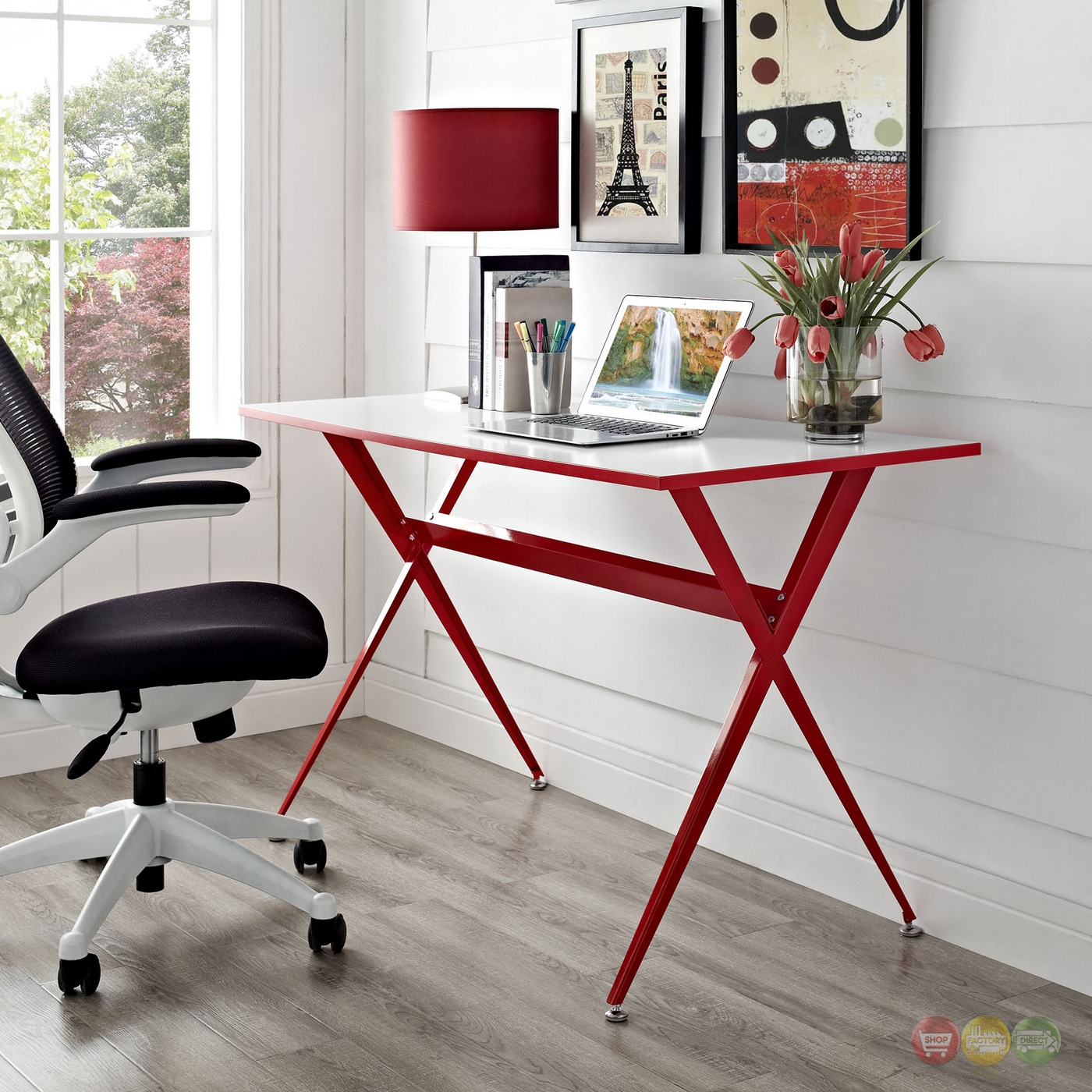 Expound Modern Stylish A Frame Computer Desk Red