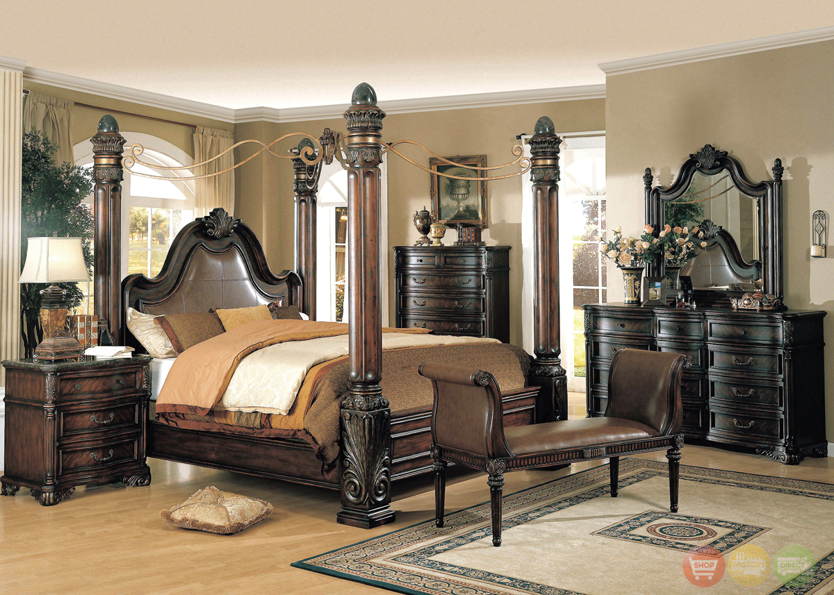 Fabiana Traditional Poster Canopy Leather Bedroom Set W Marble Free Shipping