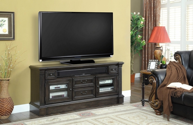 "Fairbanks Traditional 65"" TV Media Console In Dark Antique Slate"