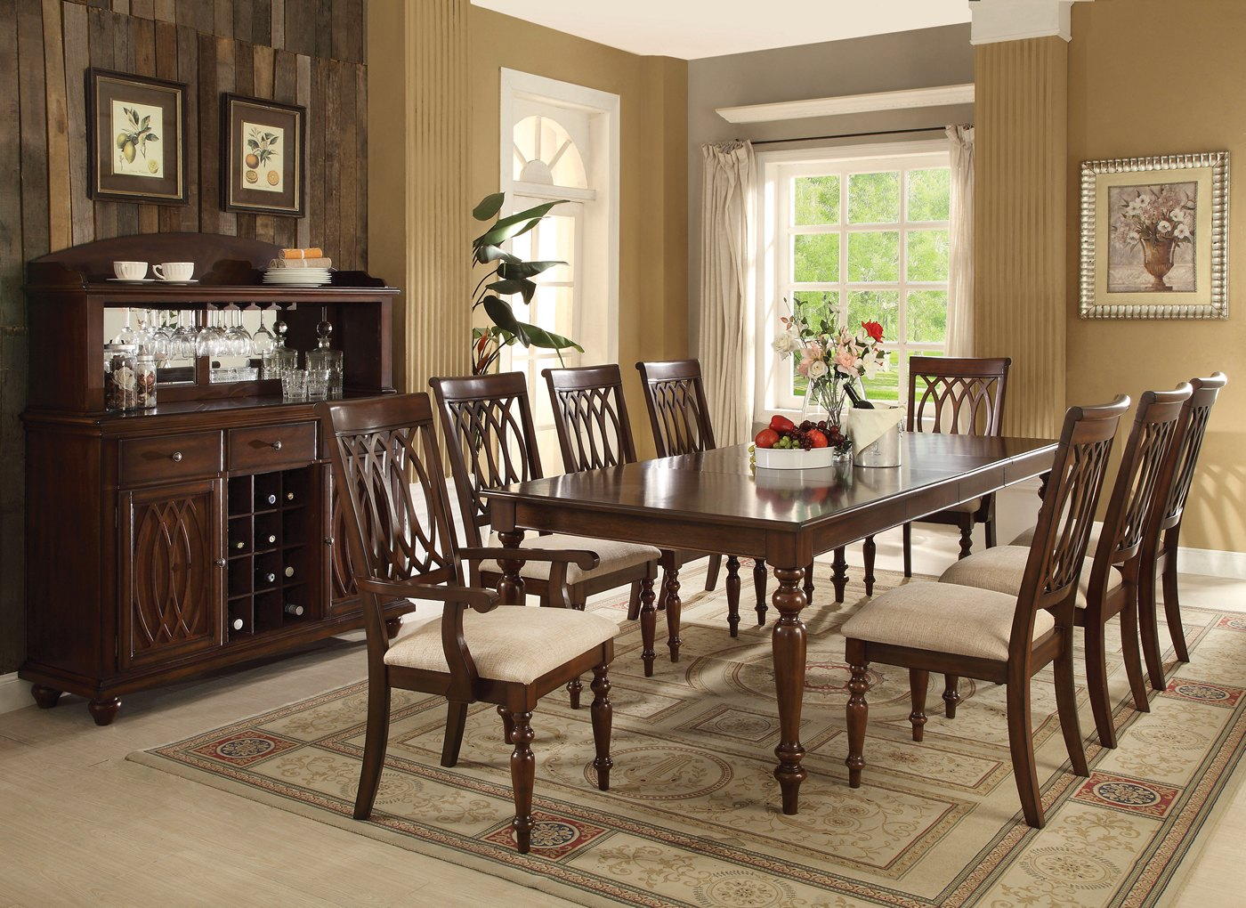 "Faolan Formal 5-pc 59""-95"" Wooden Top Dining Table Set in ..."