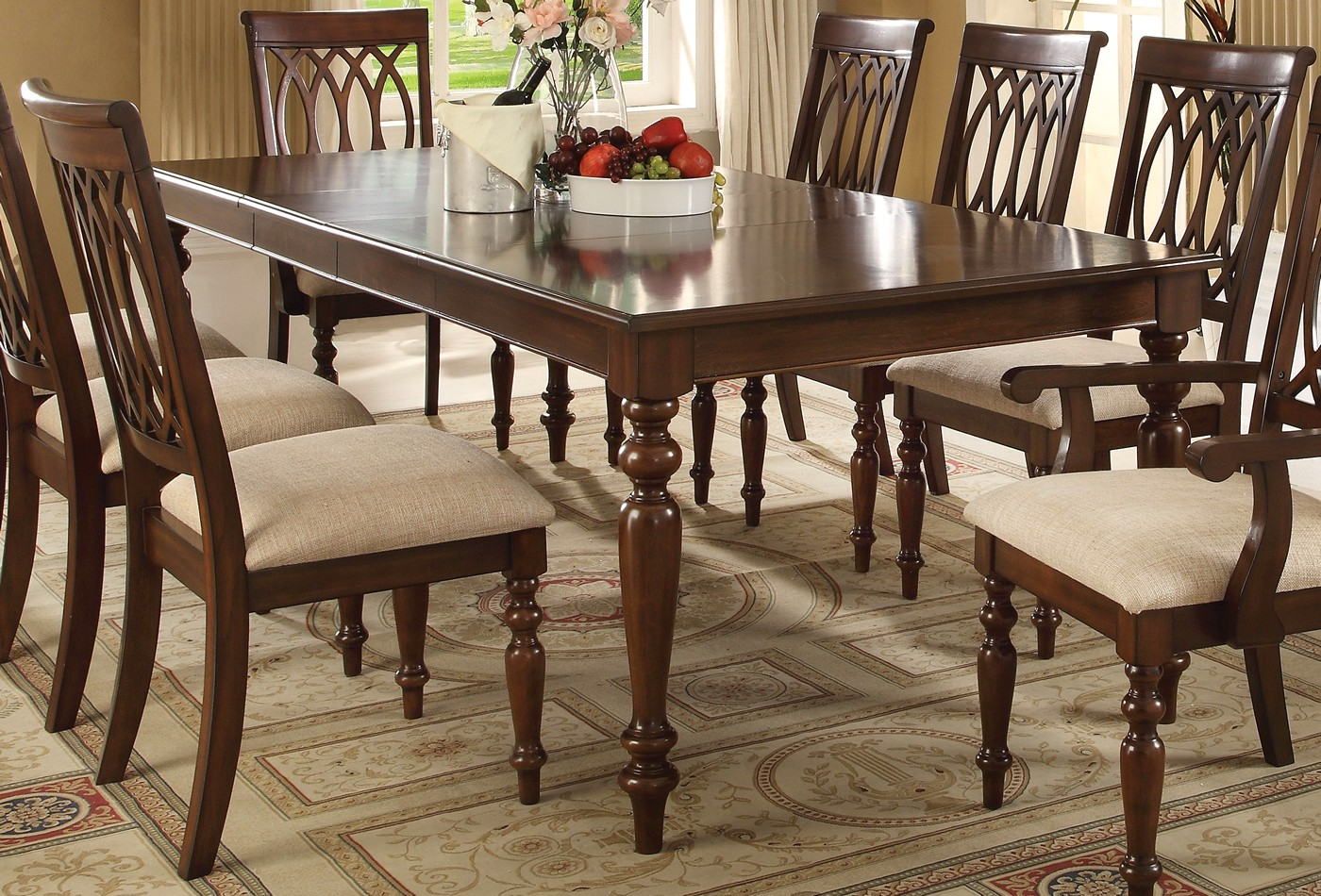 Faolan formal 59 95 wooden top dining table in walnut finish for Formal wood dining table