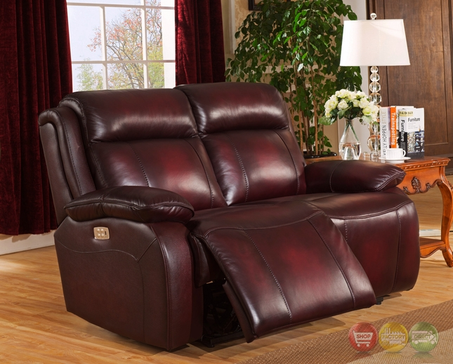 Faraday Genuine Leather Power Recline Loveseat In Deep Red Power Headrest : power reclining loveseat leather - islam-shia.org