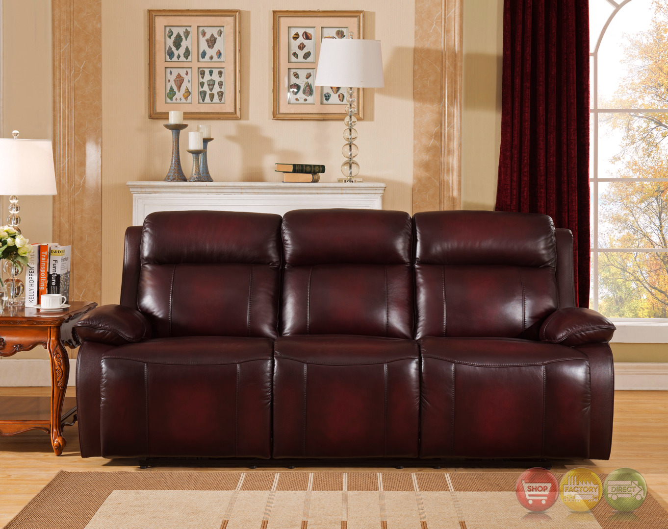 Faraday genuine leather power recline sofa in deep red for Deep red sectional sofa