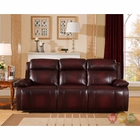 Faraday Genuine Leather Power Recline Sofa In Deep Red, Power Headrest