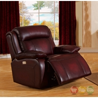 Faraday Genuine Leather Power Recliner In Deep Red, Power Headrest