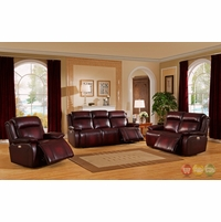 Faraday Power Recline 3pc Sofa Set In Deep Red Real Genuine Leather