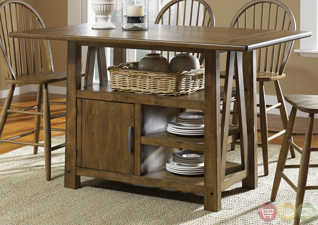 Farmhouse Counter Height Table Set Casual Dining Table Set