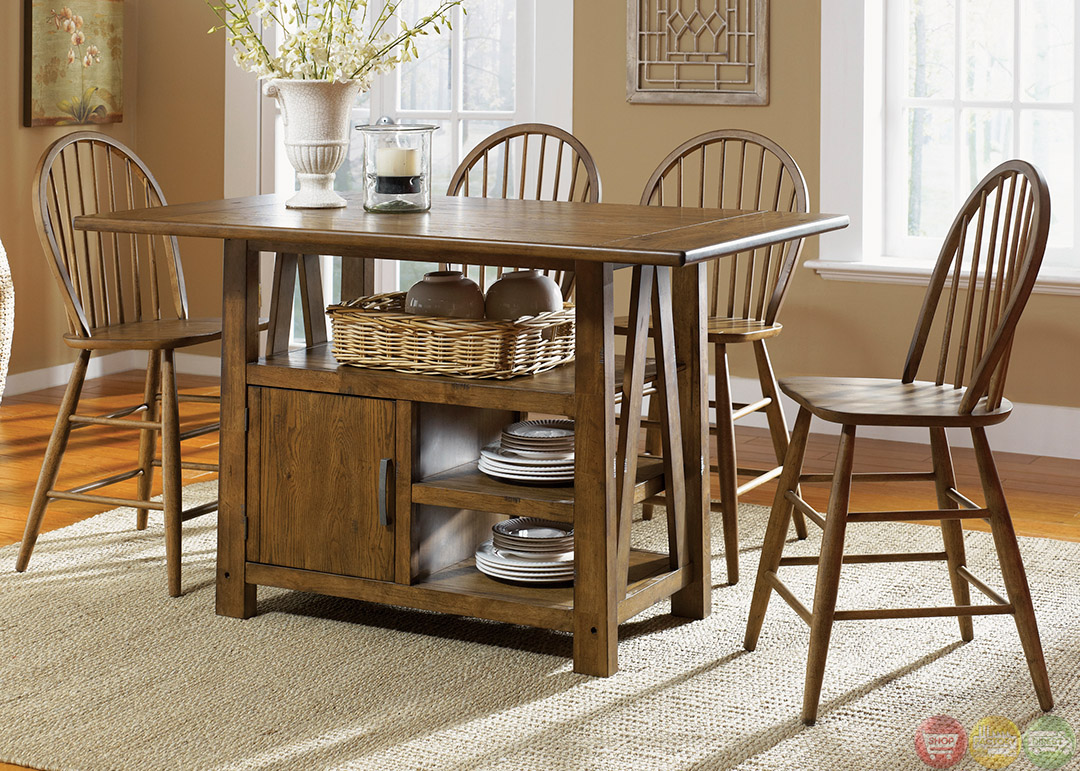 Farmhouse counter height storage table casual dining set for Kitchen island table with chairs