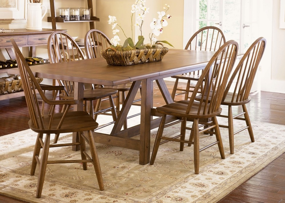 pics of dining room furniture | Farmhouse Weathered Oak Finish Casual Dining Set