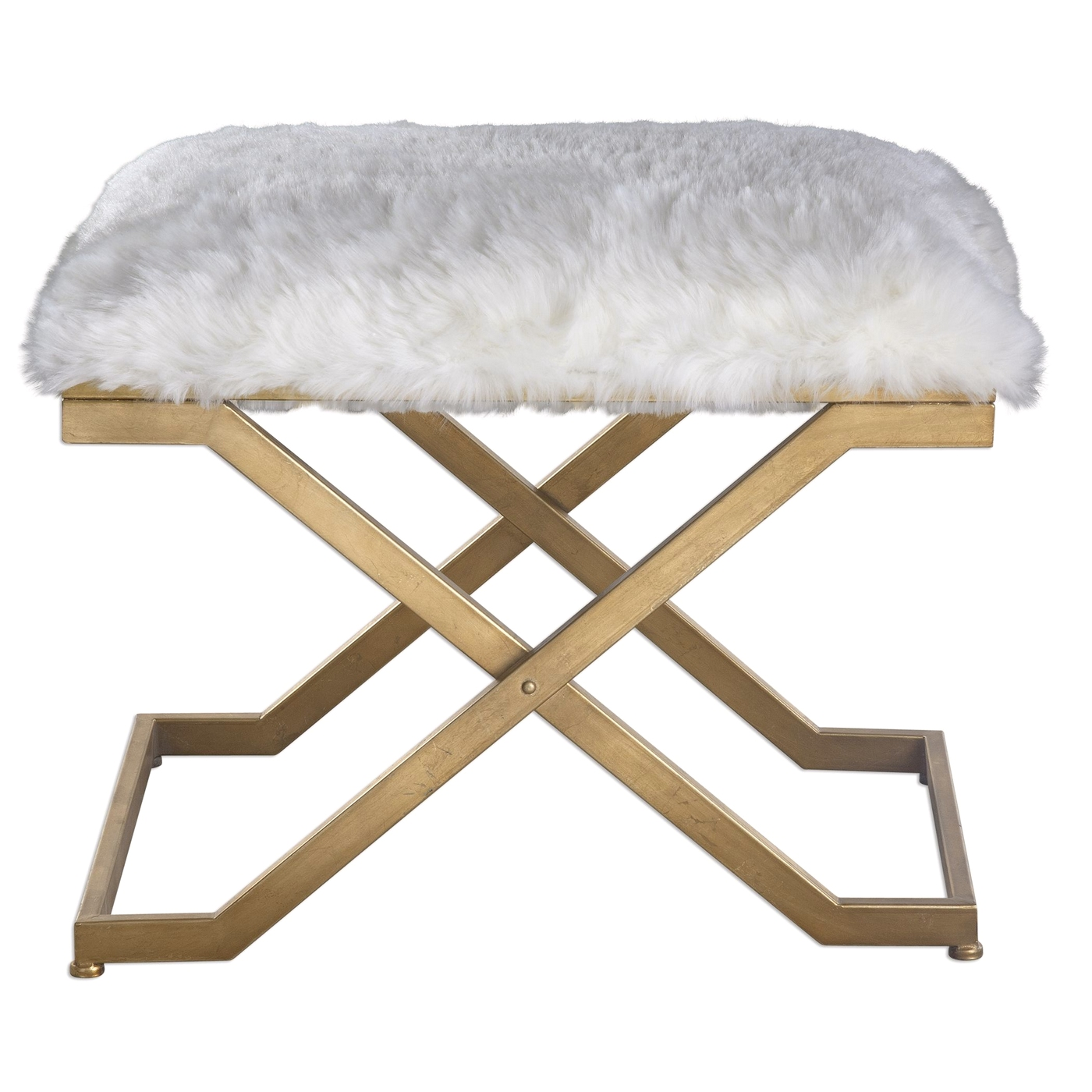 Awe Inspiring Details About Farran Soft White Faux Fur Small Bench With Hand Forged Gold Leaf Iron Legs Gamerscity Chair Design For Home Gamerscityorg