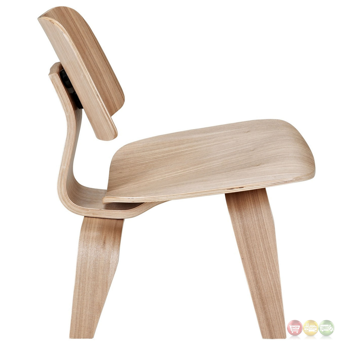 Fathom contemporary wood panel lounge chair with curved for Modern wood chair
