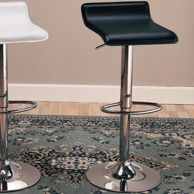 Faux Leather Set of 2 Round Footrest 29 Inch Chrome Bar Stools