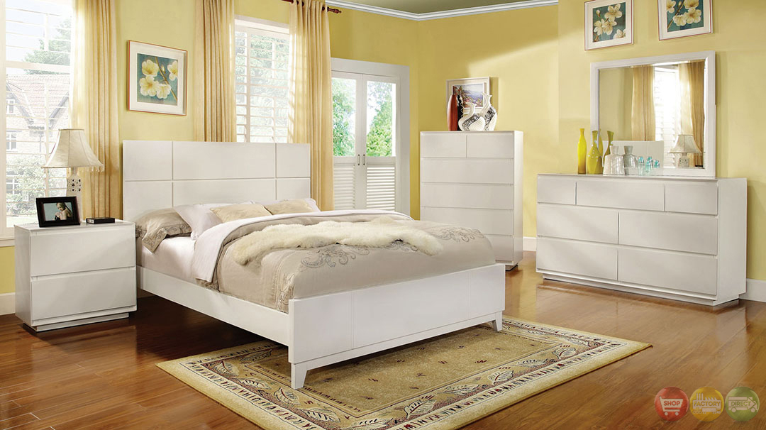 Felica contemporary white bedroom set with full extension for White full bedroom furniture sets
