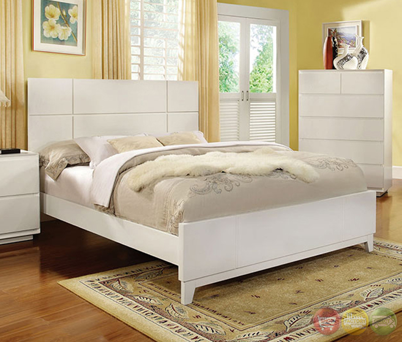 Felica Contemporary White Bedroom Set With Full Extension Drawers Cm7819
