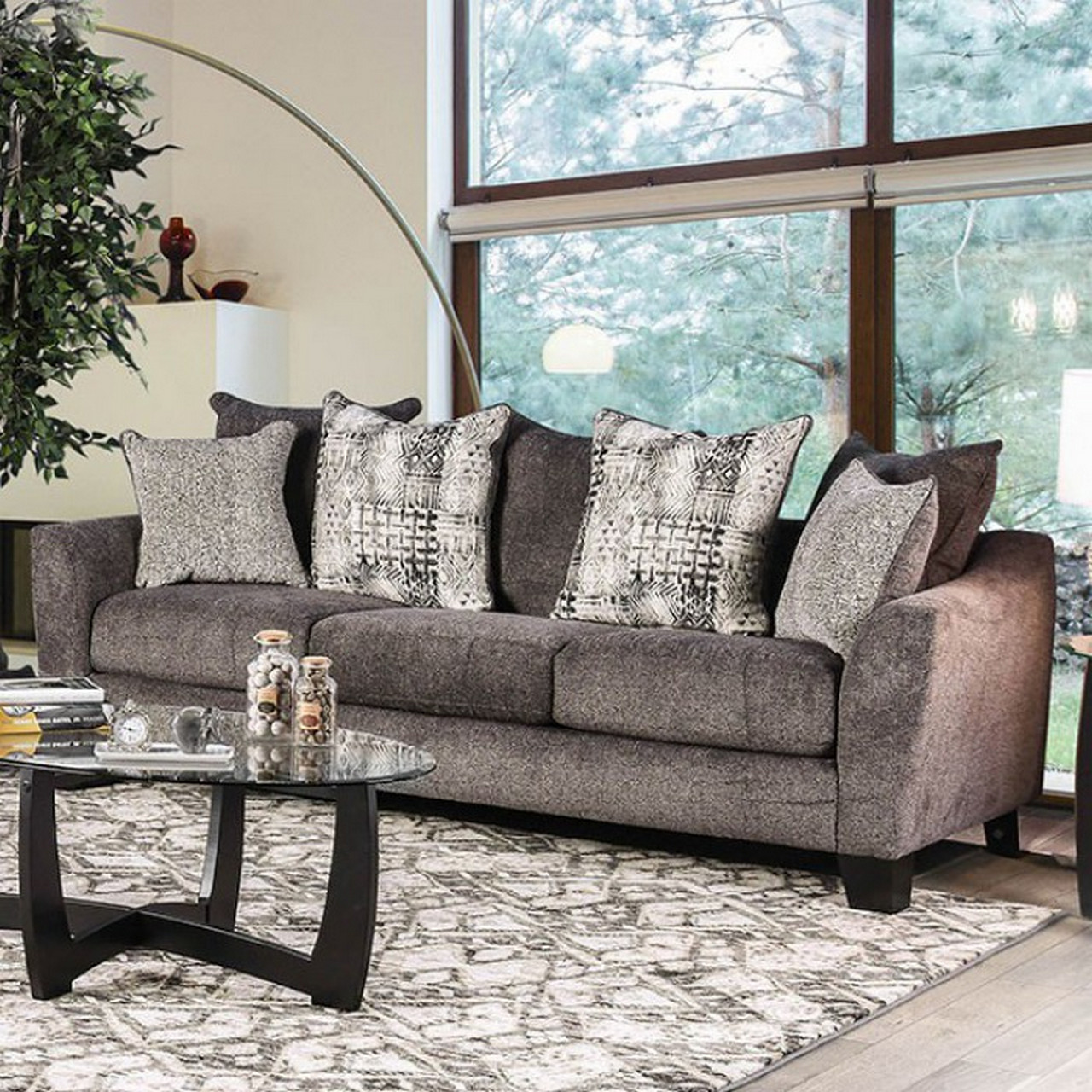 Loose Pillow Back Sofa: Felicity Contemporary Grey Chenille Sofa With Loose Pillow