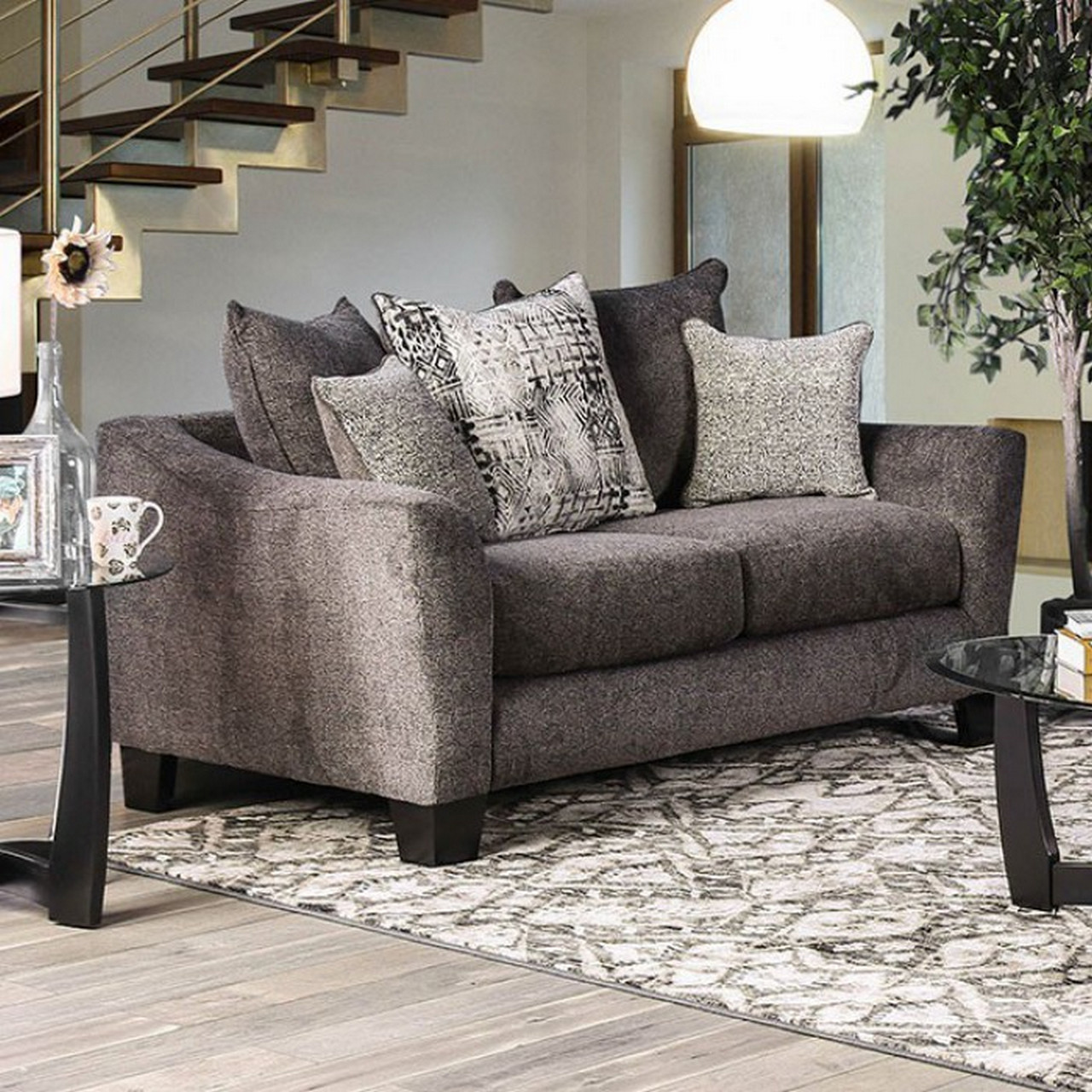 Felicity Contemporary Grey Chenille Loveseat With Loose