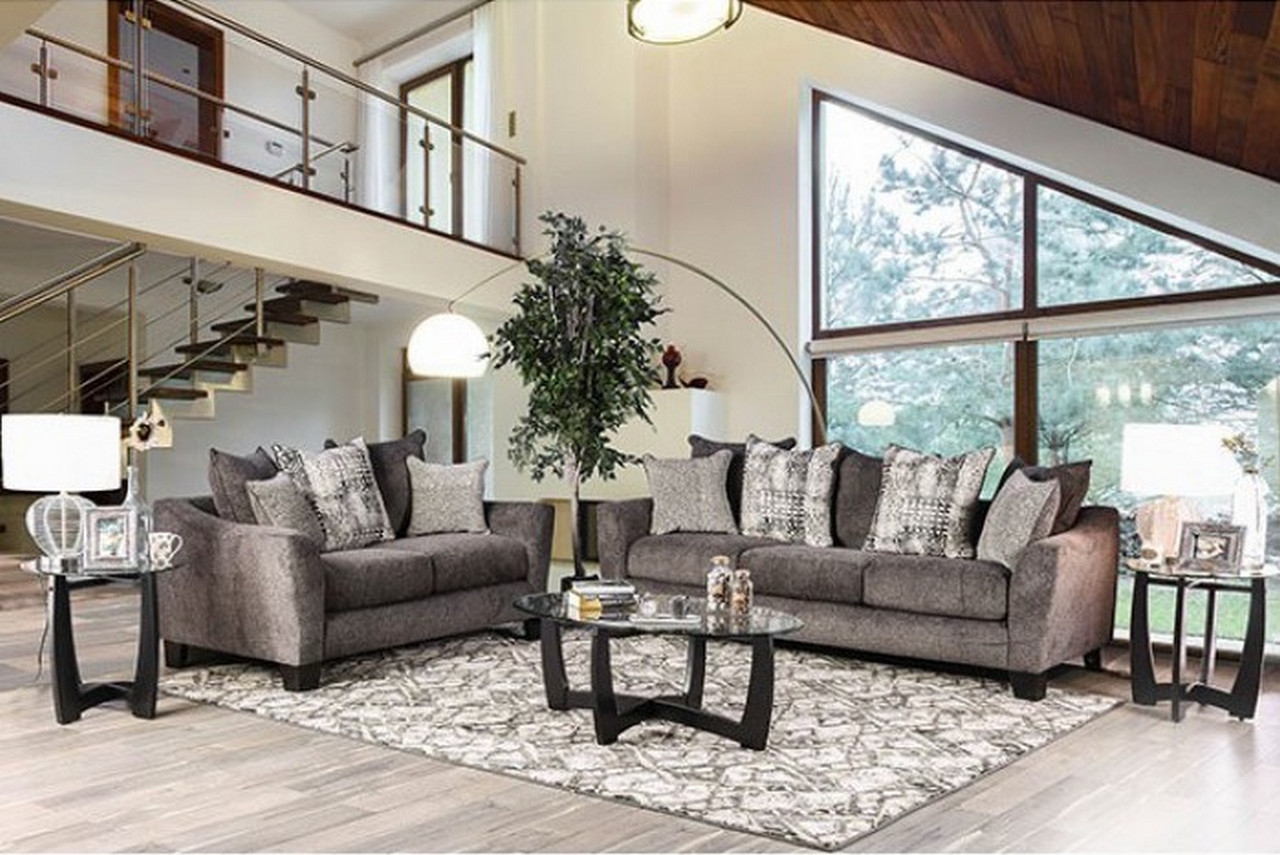 Felicity Contemporary Grey Chenille Sofa With Loose Pillow
