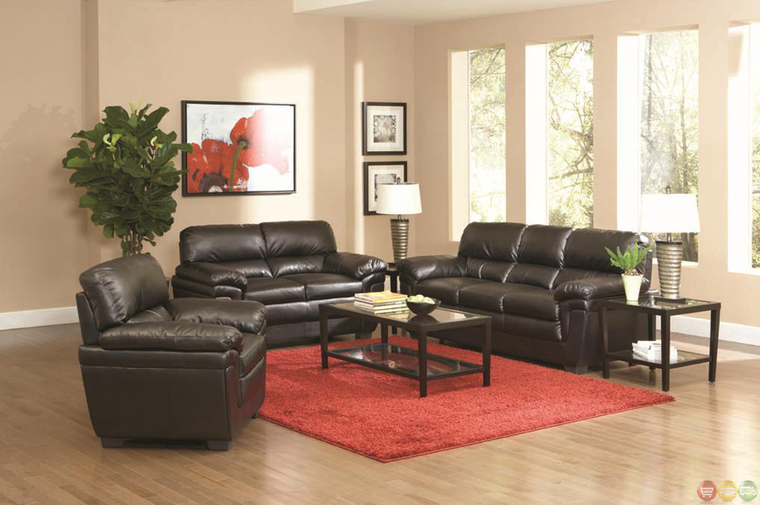 Fenmore black faux leather contemporary 3 piece living for Black living room set