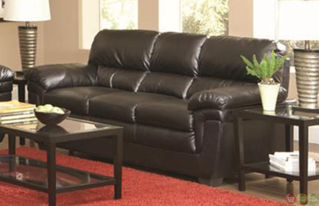 Fenmore black faux leather plush contemporary living room sofa set for Living room with black leather furniture