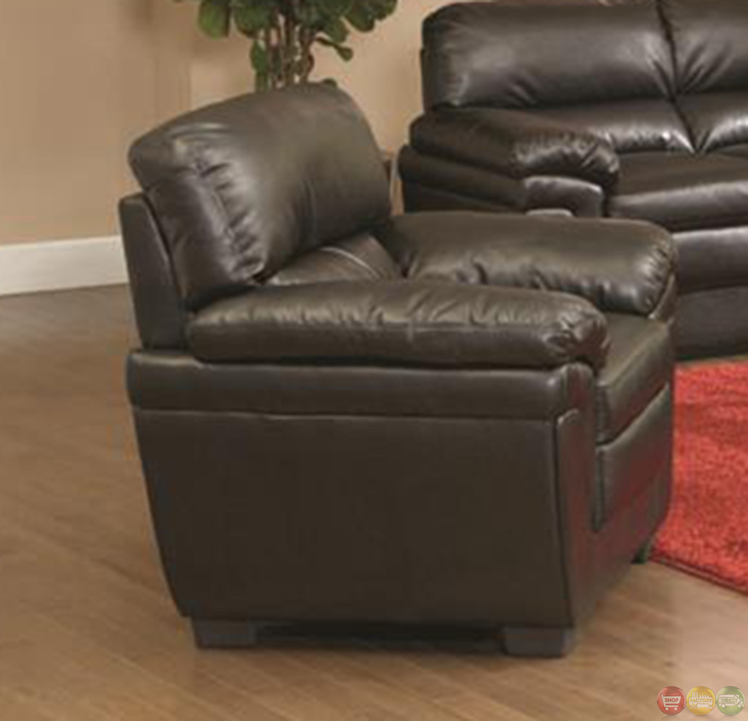 astounding living room black leather sofa | Fenmore Black Faux Leather Plush Contemporary Living Room ...