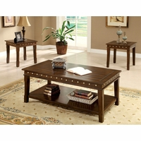 Fenwick Transitional Walnut Accent Tables Set with Nailhead Trim