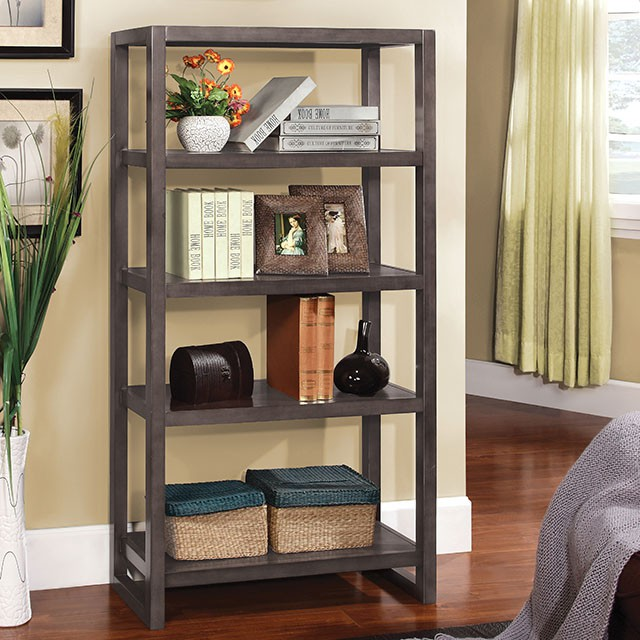 Fernie Contemporary 5-Shelf Weathered Gray Bookcase