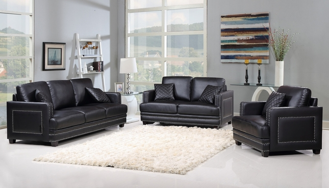 Ferrara Dramatic Black Leather Sofa & Loveseat Set with Silver Nail Head Design