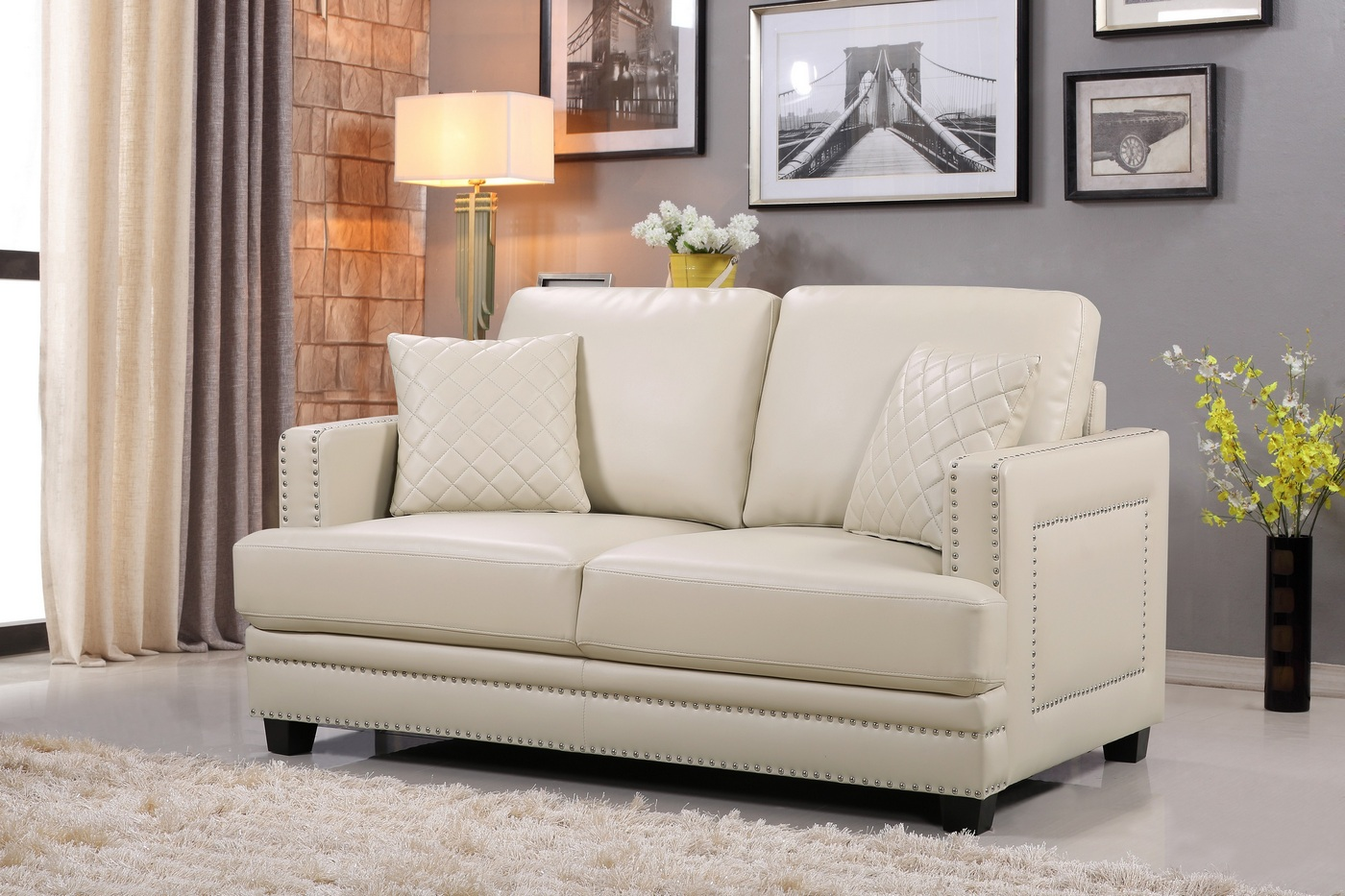 Ferrara Opulent Beige Leather Sofa Amp Loveseat Set With