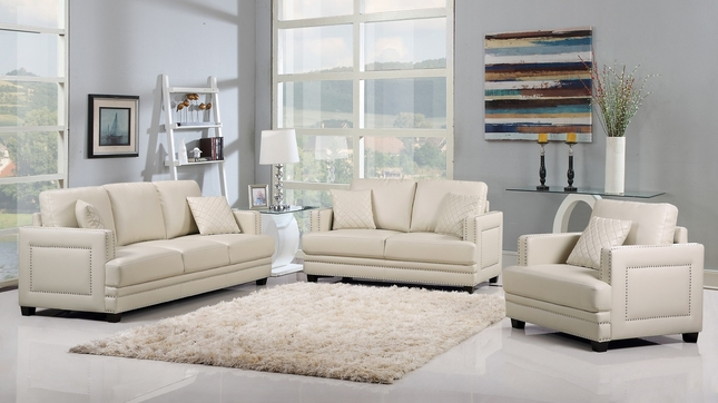 Ferrara Opulent Beige Leather Sofa U0026 Loveseat Set With Silver Nail Head  Design