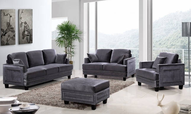 Ferrara Sleek Grey Velvet Sofa & Loveseat Set with Silver Nail Head Design