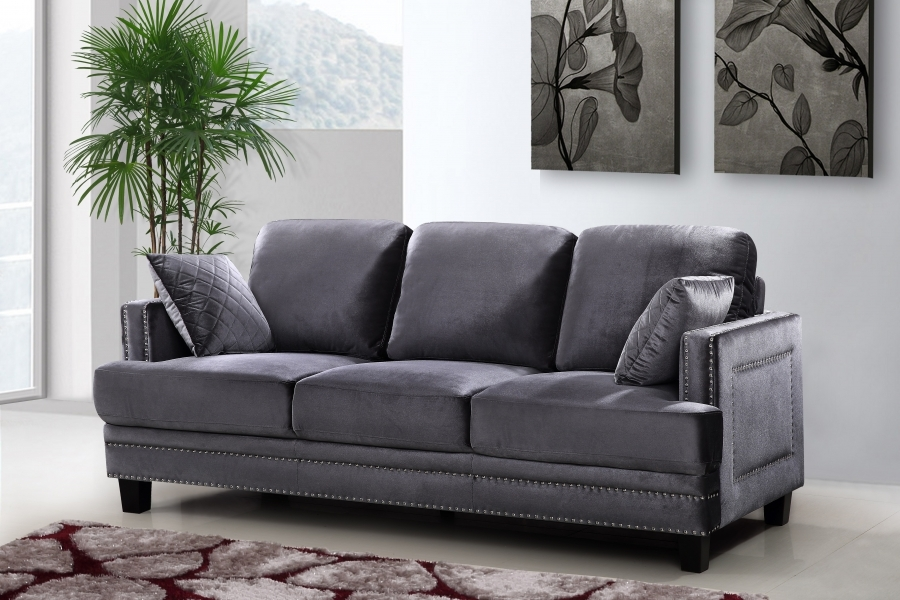 Ferrara sleek grey velvet sofa loveseat set with silver Sleek sofa set designs