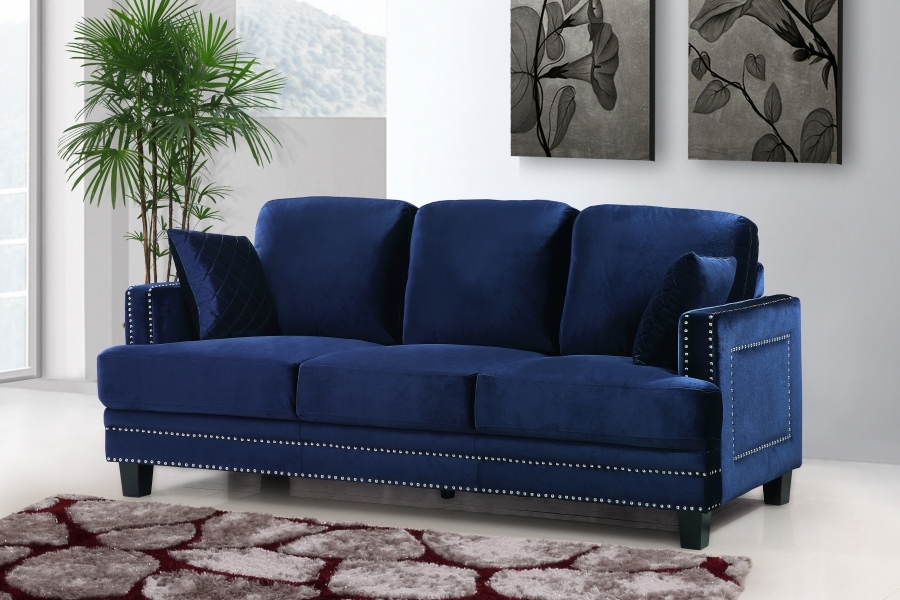 Ferrara Stunning Navy Velvet Sofa With Silver Nail Head Design