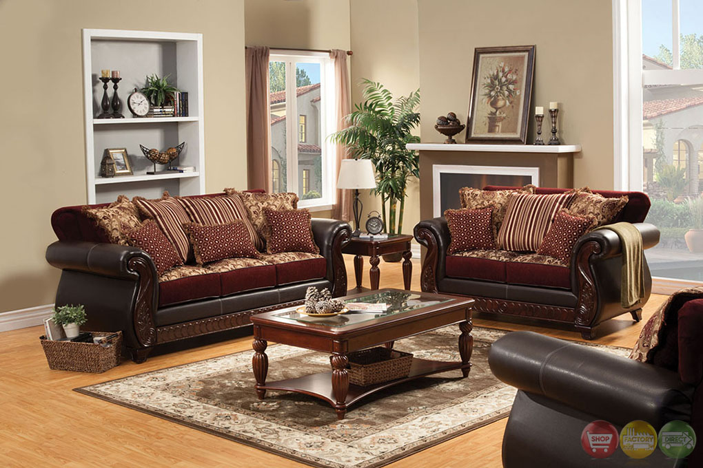 Fidelia traditional burgundy living room set with pillows for Traditional living room sets