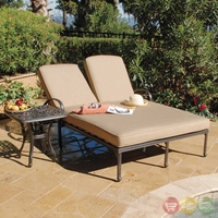Fiesta 2p Piece Cast Aluminum Outdoor Double Chaise Lounge Set