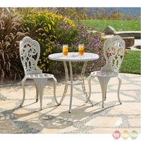 Fiesta 3 Piece Cast Aluminum Outdoor Beige Bistro Dining Set