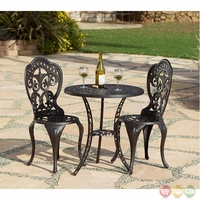 Fiesta 3 Piece Cast Aluminum Outdoor Bistro Brown Dining Set