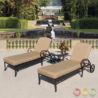 Fiesta 3pc Cast aluminum Outdoor Chaise Set with Sunbrella Fabric - 10865948