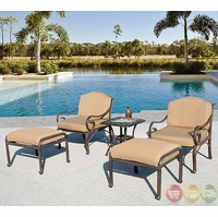 Fiesta 5 Piece Cast Aluminum Outdoor Patio Furniture Club Chair Set