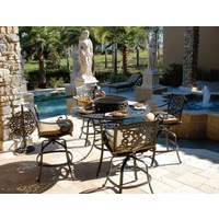 Fiesta 6 Piece Cast Aluminum Counter Height Fire Pit Table Set