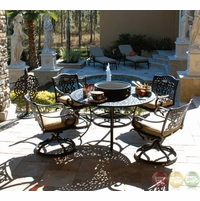 Fiesta 6 Piece Cast Aluminum Patio Fire Pit Dining Furniture Set