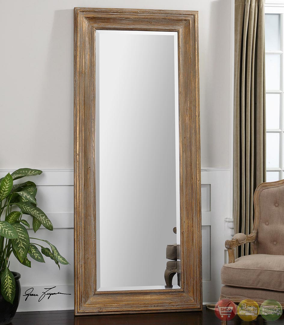 Filiano Traditional Gold Leaf Floor Mirror 13849