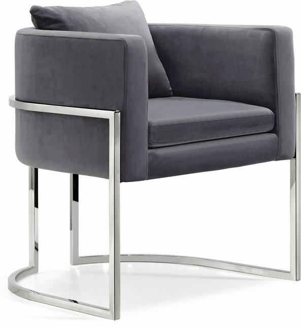 Finn Modern Plush Grey Velvet Accent Chair with Chrome ...