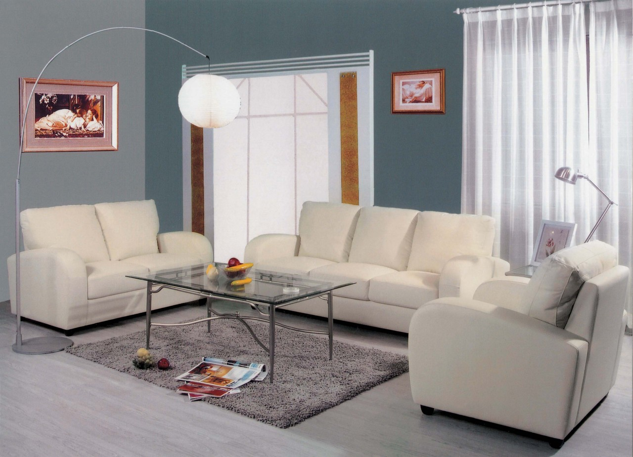3 piece white leather sofa set modern white leather sofa for Modern white living room furniture