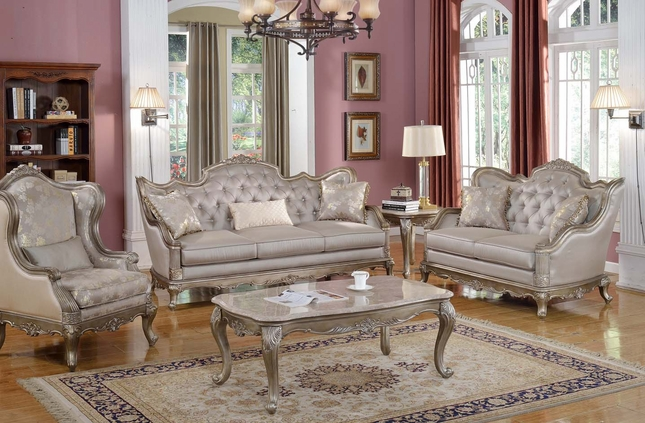 Fiorella Traditional Elegance Luxury Sofa Loveseat Chair Gold Silver Wood