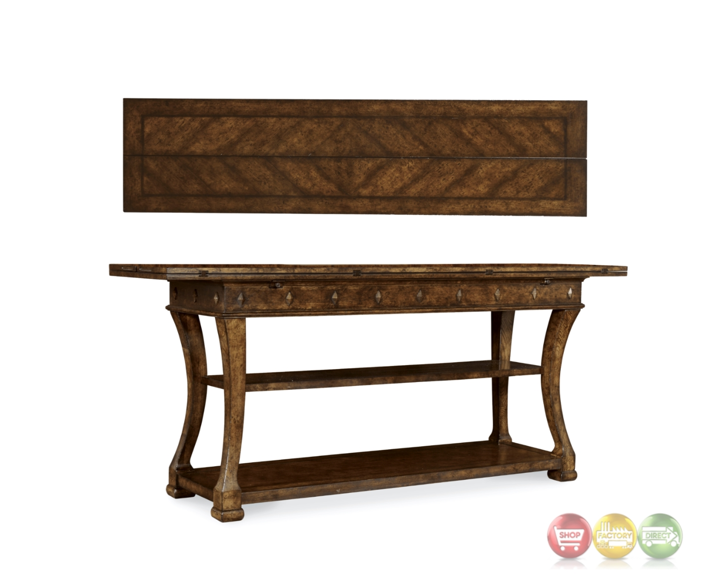Firenze Ii Tuscan Flip Top Sofa Table In Alder And Knotty Oak