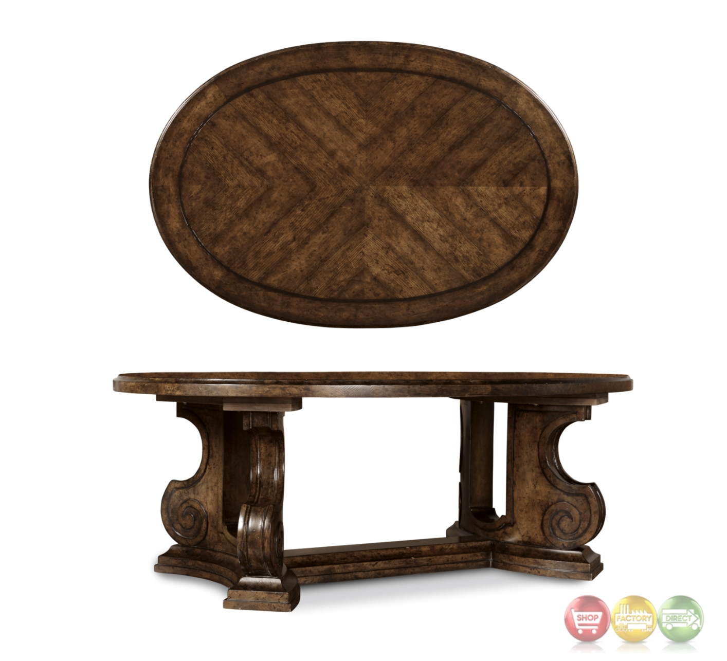 Firenze Ii Tuscan Oval Cocktail Table In Alder And Knotty Oak